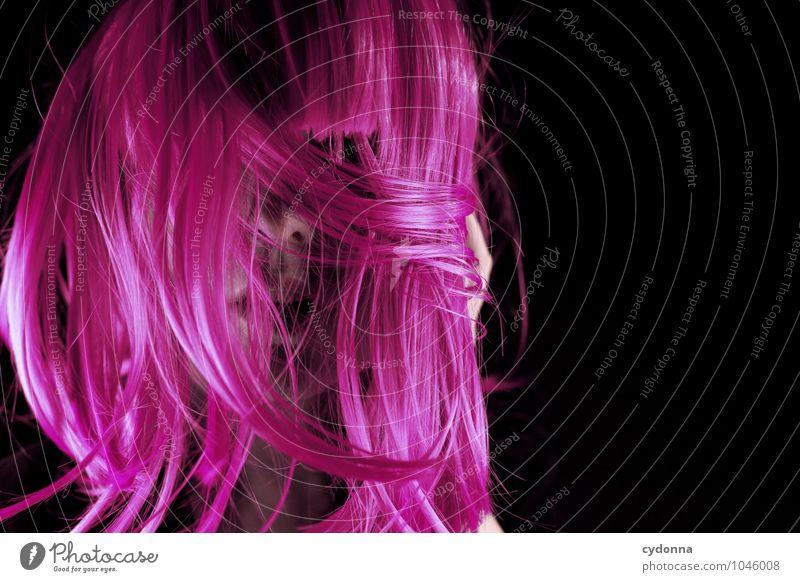 Pink Hair Day Lifestyle Stil exotisch schön Nachtleben Party Karneval Mensch Junge Frau Jugendliche Leben 18-30 Jahre Erwachsene langhaarig Perücke einzigartig