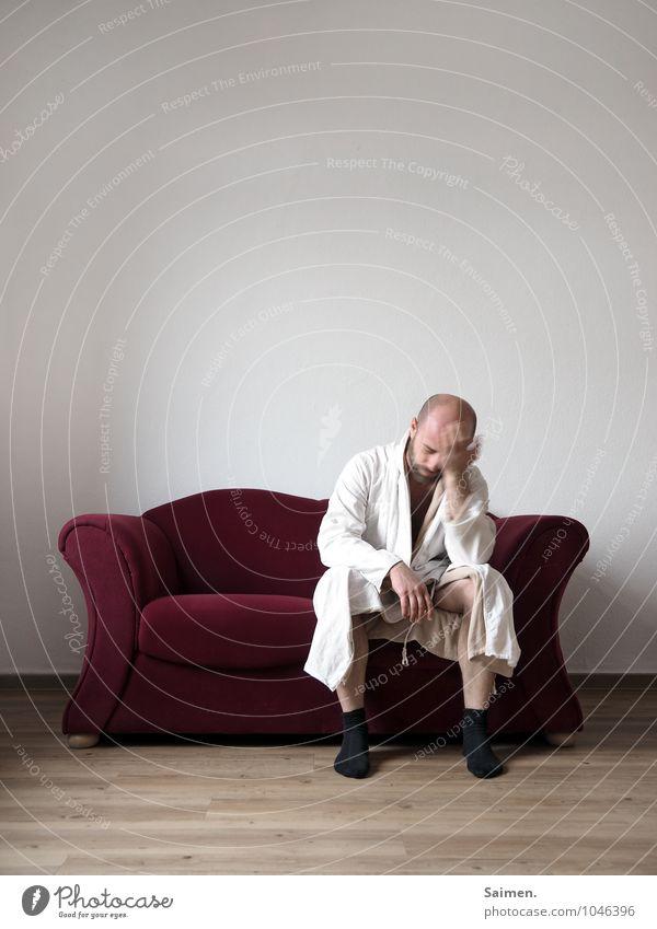fucking monday morning Mensch maskulin Mann Erwachsene Körper Kopf Hand 1 30-45 Jahre sitzen Gefühle Trauer Müdigkeit Schmerz Enttäuschung Einsamkeit