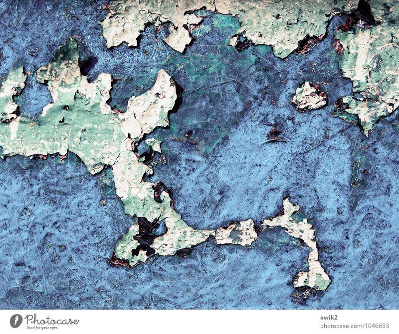 Halbinsel Kunstwerk Gemälde Metall Rost alt Unendlichkeit trashig blau schwarz türkis weiß Desaster Verfall Vergänglichkeit Wandel & Veränderung Zerstörung