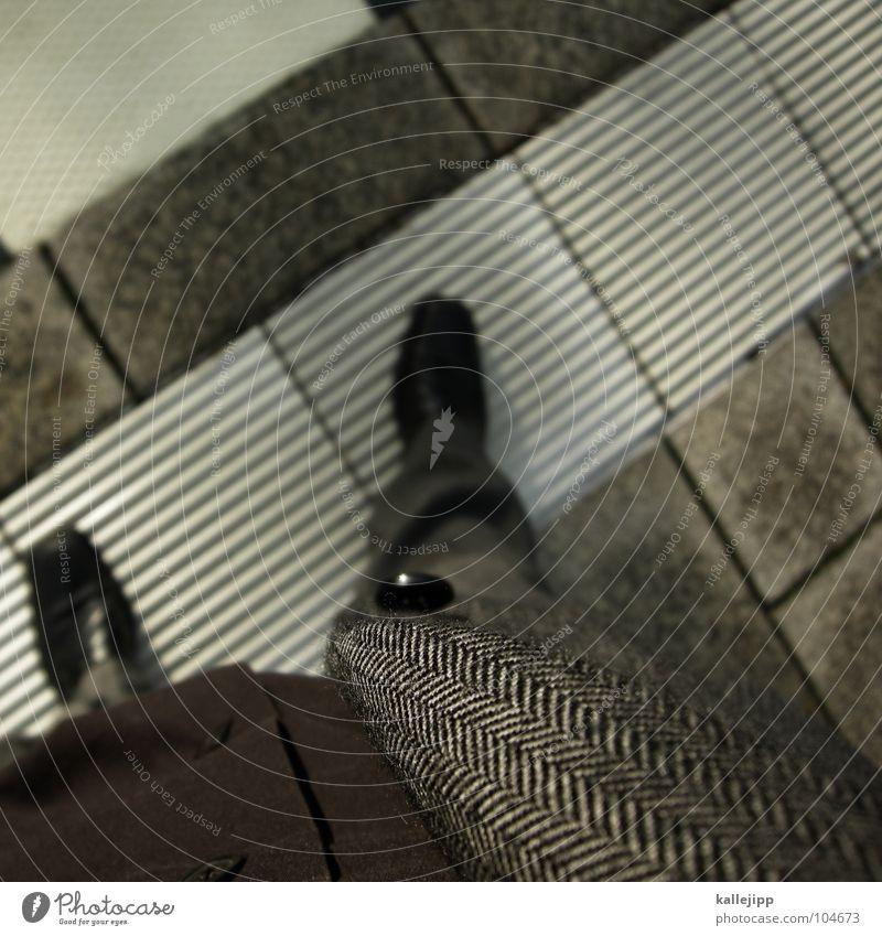 stylepolizei grau Beine Arbeit & Erwerbstätigkeit Schuhe Perspektive Bekleidung stehen Coolness Bodenbelag Stoff Jacke Hose Fliesen u. Kacheln Ladengeschäft