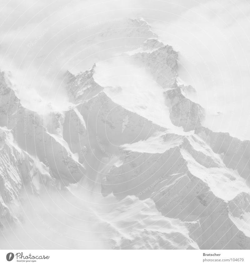 Yeti gesucht. weiß Nebel Wolken Flugzeug geheimnisvoll Bergkette China Winter Berge u. Gebirge Bergsteigen Himalaya hoch Luftverkehr überfliegen Überflieger