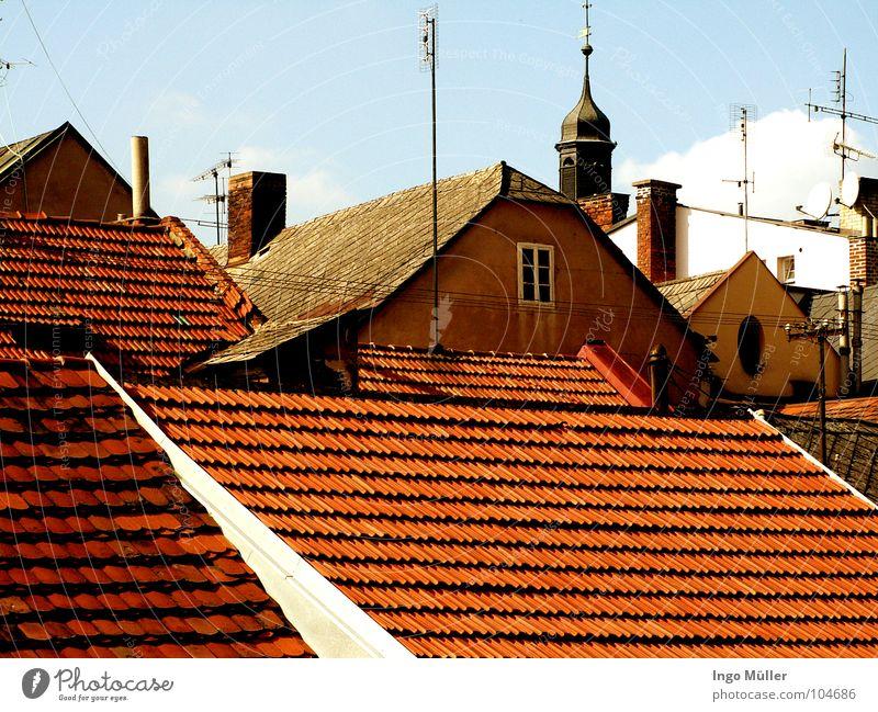 Die Dächer Tschechiens Himmel Stadt Haus Fenster Horizont Aussicht Dach Turm Amerika Tschechien