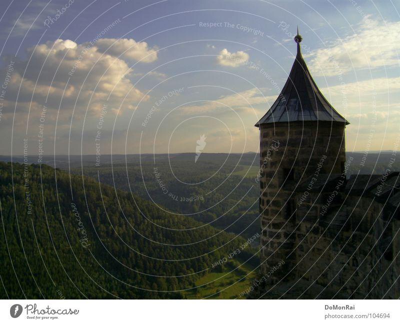 Königstein Himmel grün blau rot Ferien & Urlaub & Reisen Wolken Wald Landschaft planen Horizont Aussicht Turm fantastisch Unendlichkeit Hügel Burg oder Schloss