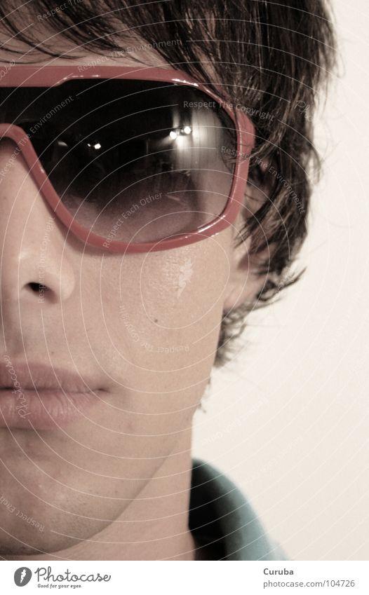 Those Red Shades... Mensch Mann Jugendliche rot Gesicht Brille Club Sonnenbrille Anschnitt