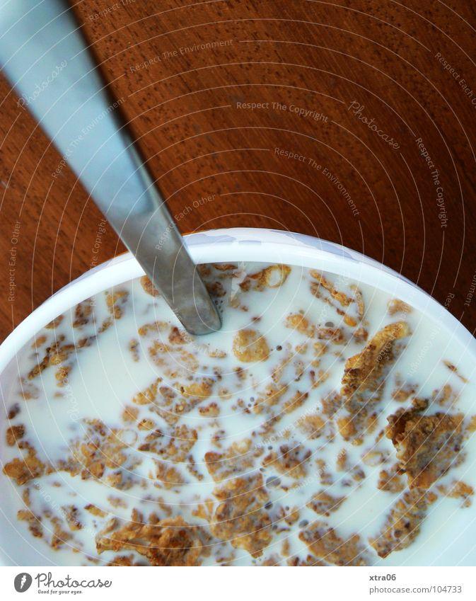 für mic: frühstück ist serviert Gesundheit Lebensmittel frisch Ernährung Tisch lecker Frühstück Schalen & Schüsseln Alkoholisiert Holztisch Gefäße Milch Löffel Milcherzeugnisse Zerealien Holzmehl