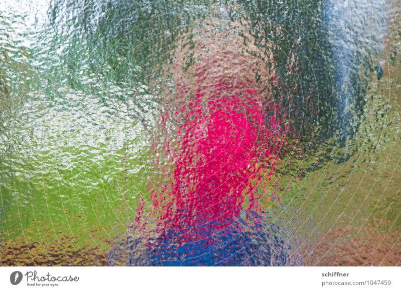 Pinker Terrier, schlank Glas blau grün rosa Glasscheibe Autofenster Fensterscheibe Fensterblick abstrakt Riffel Experiment