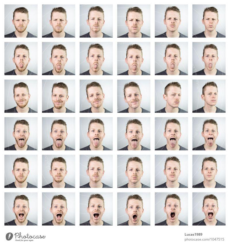 Bart Emotionen Mensch maskulin Junger Mann Jugendliche Erwachsene Kopf Gesicht Barthaare 1 Menschengruppe 18-30 Jahre T-Shirt Haare & Frisuren blond kurzhaarig