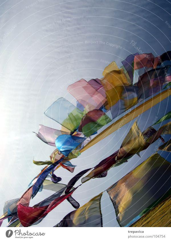 fähnchen Himmel blau grün Sommer Farbe Sonne Freude Wolken gelb Freiheit Glück Feste & Feiern Luft fliegen Wind Dekoration & Verzierung