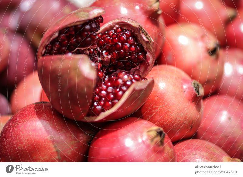 Granatapfel Lebensmittel Frucht Ernährung Bioprodukte Vegetarische Ernährung Ferien & Urlaub & Reisen Essen Duft lecker saftig süß rot Appetit & Hunger genießen