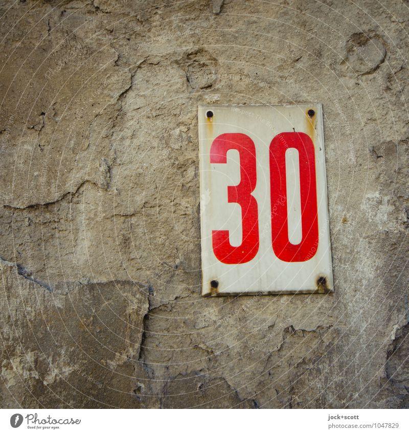 Fokus der Dreißig Design Typographie Budapest Metall Rost Schilder & Markierungen 30 Rechteck einfach retro grau rot Verfall Vergangenheit Vergänglichkeit