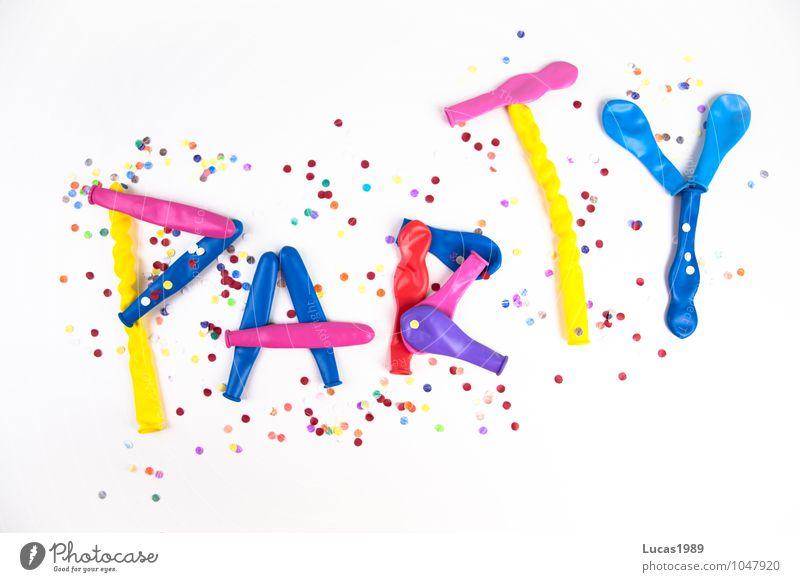 Konfetti + Luftballons = Party blau grün weiß rot Freude gelb Glück Feste & Feiern rosa Party orange Geburtstag Tanzen Coolness Luftballon violett