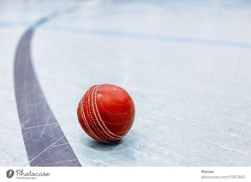 cricketball & linie rot kalt Sport Spielen Linie liegen Freizeit & Hobby ästhetisch Fitness rund Asien Ball Gleichgewicht Sport-Training Leder hart