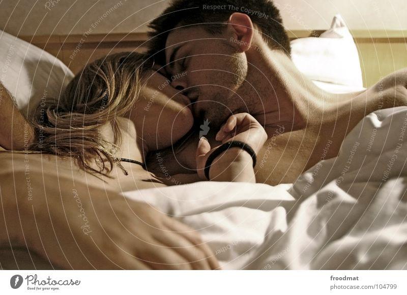 Intim Frau Mann Jugendliche schön Freude ruhig Gesicht Erwachsene Liebe Gefühle nackt Glück Wärme träumen Paar Sex