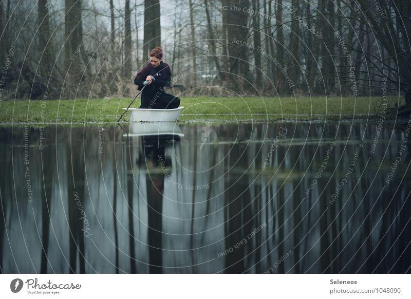 Wasserzeichen l in See stechen Ausflug Abenteuer Ferne Freiheit Mensch Frau Erwachsene 1 Umwelt Natur Küste Seeufer Flussufer Teich Bach Schifffahrt Bootsfahrt