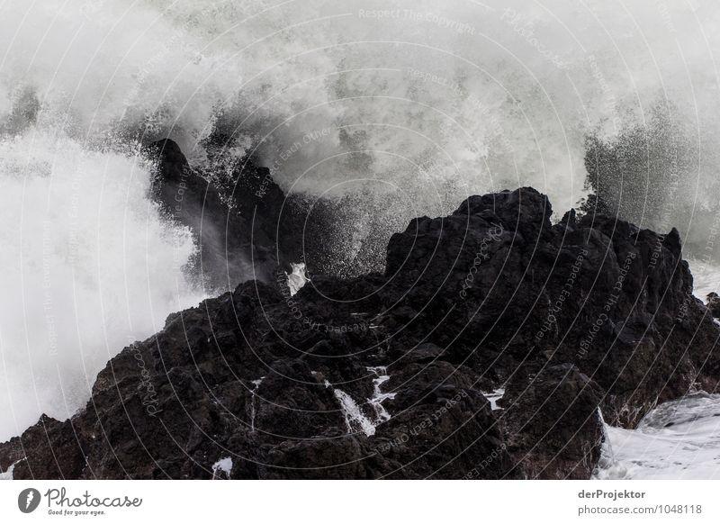 Brandung auf schwarzen Stein Natur Ferien & Urlaub & Reisen Wasser Meer Winter Ferne Umwelt Gefühle Küste Freiheit Felsen Kraft Wellen Tourismus Insel Ausflug