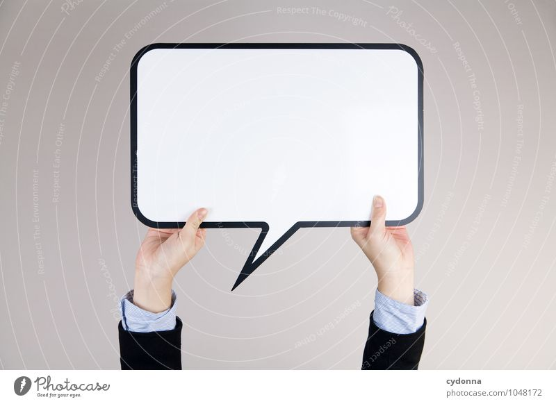 Nicht so viel Text, bitte! Mensch Jugendliche 18-30 Jahre Erwachsene sprechen Business Büro Erfolg leer Kreativität Textfreiraum Zukunft Studium Idee Telekommunikation planen