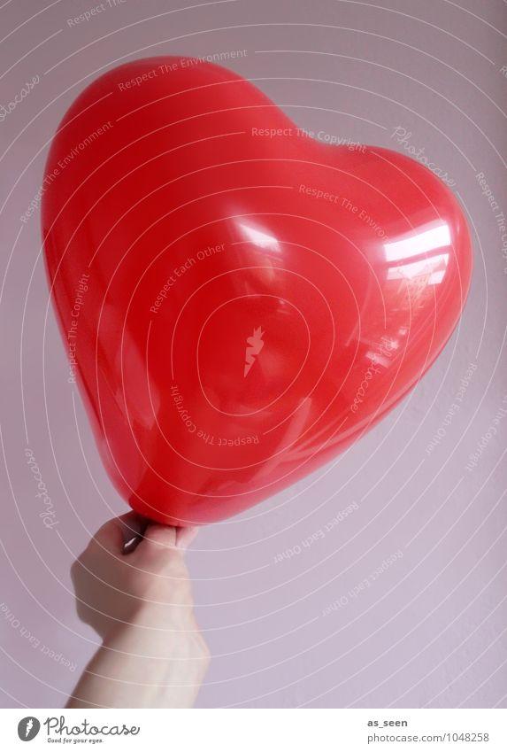 Big love Feste & Feiern Valentinstag Muttertag Hochzeit Geburtstag Kindererziehung Partnerschaftsvermittlung Hand Luftballon Kunststoff Zeichen Herz glänzend