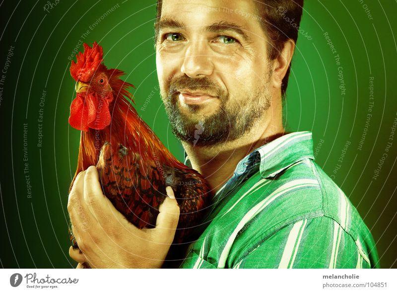 I LIKE CHICKEN Haushuhn Tierliebe Porträt Mann Comic Design Mensch und Tier Ernährung