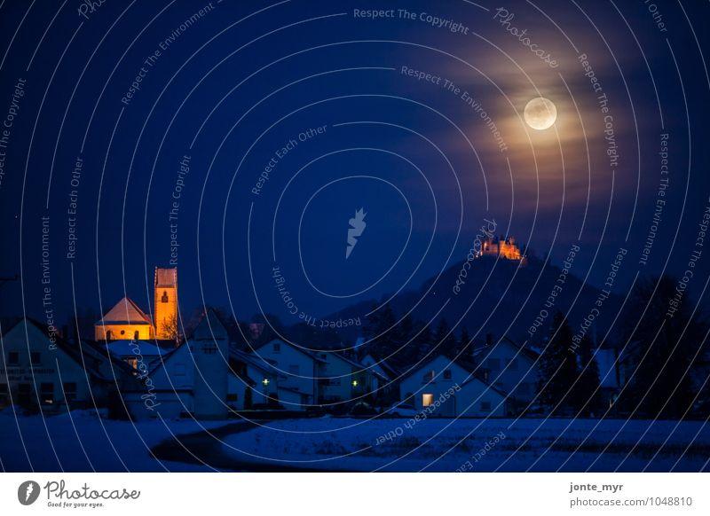 Vollmond ruhig Ferien & Urlaub & Reisen Tourismus Abenteuer Ferne Freiheit Sightseeing Berge u. Gebirge Kunst Architektur Natur Landschaft Himmel Nachthimmel