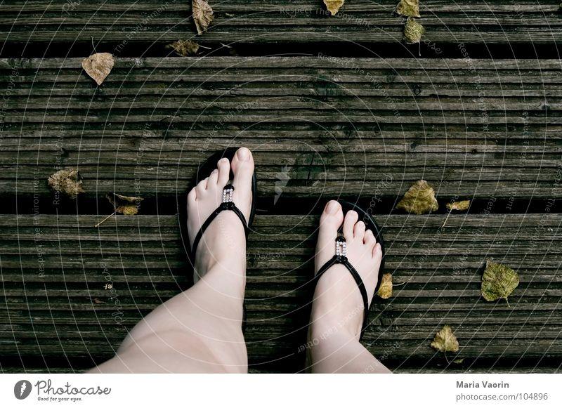 Auf Herbst getreten kalt Holz Steg Flipflops Zehen Blatt Wind trüb trist braun dunkel September Oktober November Unlust Frau Herbstferien Schuhe Fuß herbstlich