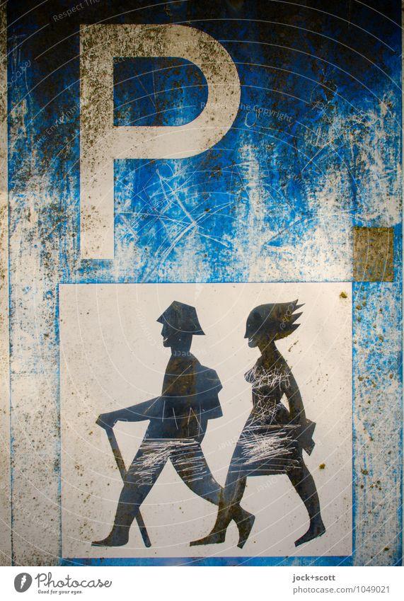 Park+Walk Freude wandern Paar 2 Typographie Verkehrszeichen Piktogramm Parkplatz Kratzer Erholung dreckig Fröhlichkeit Zusammensein Interesse Freiheit
