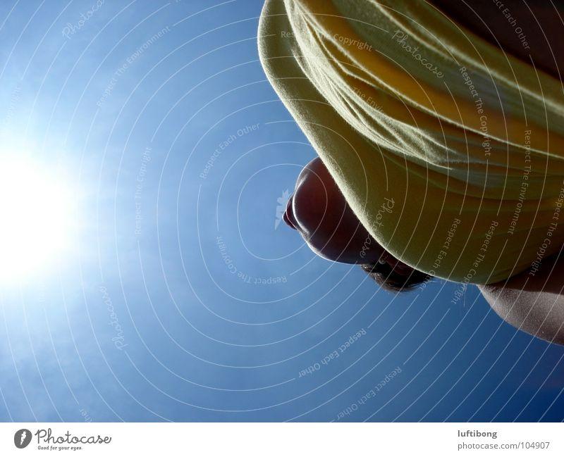 sonnenstrahlen weiß gelb Sommer heiß Sonnenstrahlen hell-blau Top Unendlichkeit Gefühle Farbe modern Wärme Beleuchtung Falte Natur Himmel Freiheit