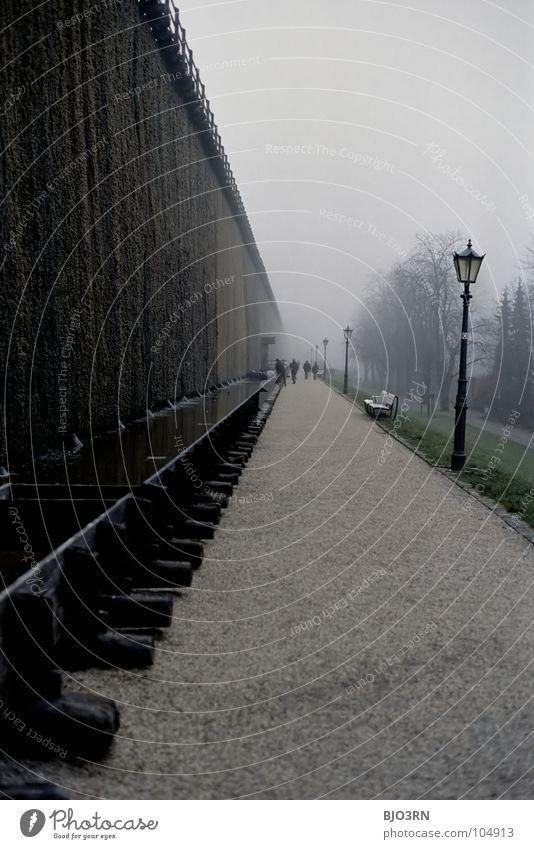 [ende] die Schwarzdornwand Baum Einsamkeit dunkel Wand Holz Stein Traurigkeit Luft Lampe Deutschland Gesundheit Nebel hoch leer Technik & Technologie Laterne