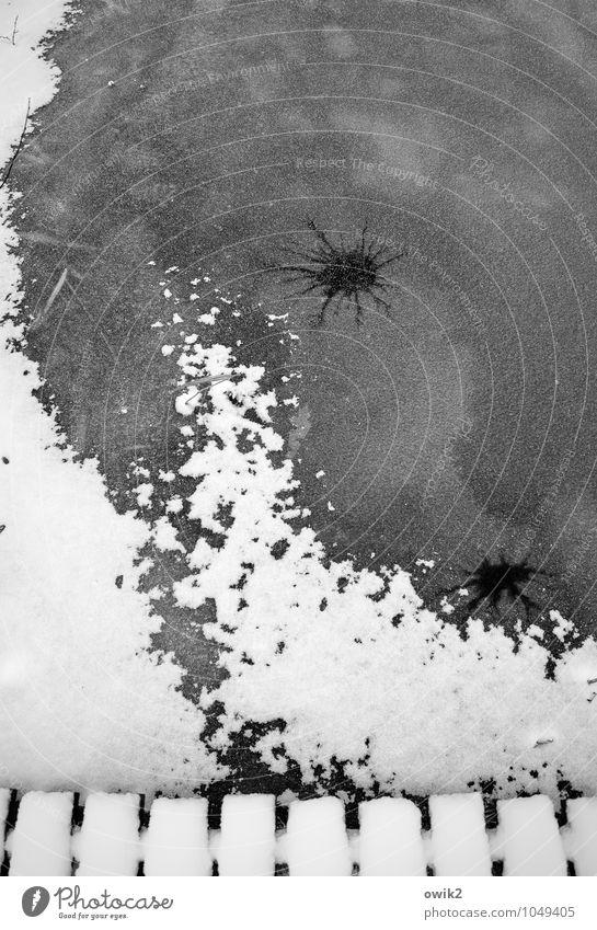 Cool bleiben Umwelt Natur Landschaft Urelemente Winter Schönes Wetter Eis Frost Schnee kalt unten Rätsel See Wasseroberfläche gefroren Spuren Steg Anlegestelle
