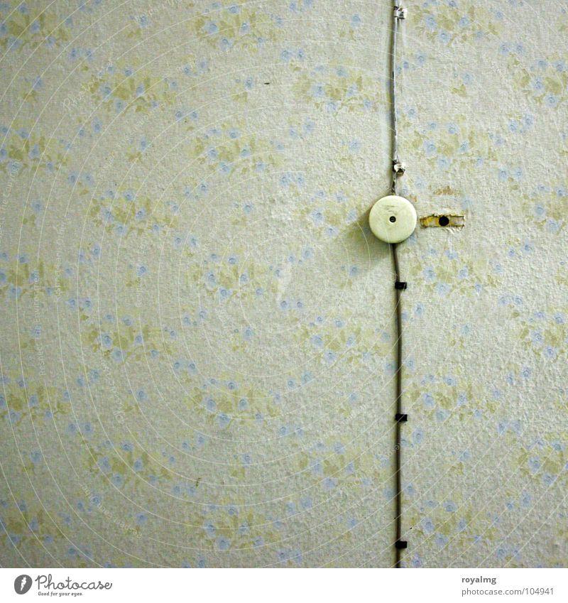 Electric Boogie alt grün weiß Blume ruhig Einsamkeit schwarz gelb Wand Wohnung Elektrizität Kabel Häusliches Leben retro Küche Vergänglichkeit