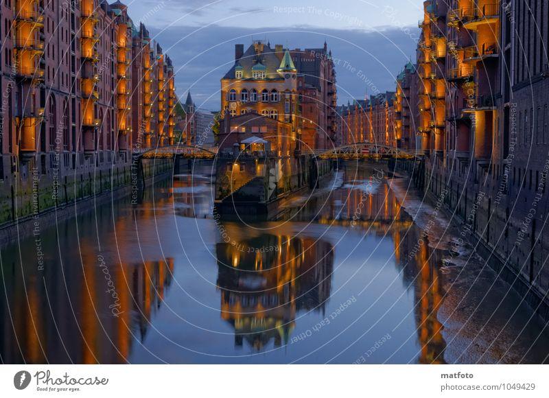 Hamburg Speicherstadt bei Nacht 1 Wasser Nachthimmel Sommer Flussufer Hamburger Hafen Alte Speicherstadt Stadt Hafenstadt Menschenleer Haus Industrieanlage