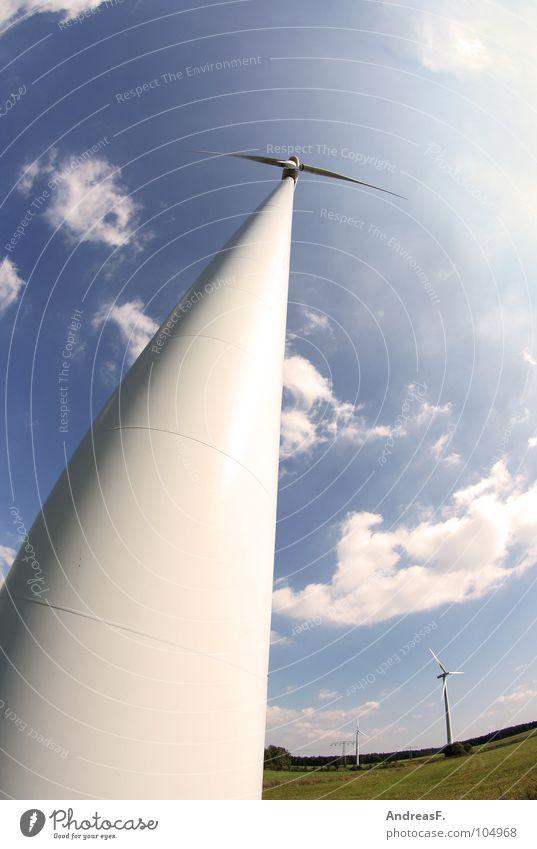 Windenergie Himmel grün Wind Umwelt Energiewirtschaft Elektrizität Technik & Technologie Windkraftanlage ökologisch Mühle Klimawandel Stromkraftwerke alternativ Triebwerke Rotor umweltfreundlich