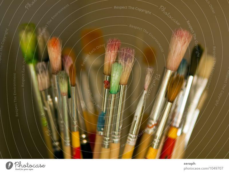 Pinsel Bürste Farbe Farben und Lacke zeichnen Bild mehrfarbig Sammlung Vorrat Kunst Kreativität Objektfotografie Acryl Borsten Werkzeug Basteln Künstler Maler