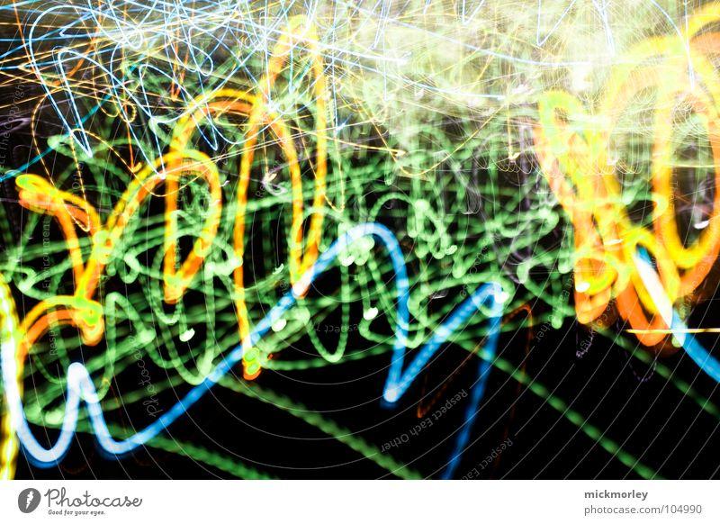 ein gedanke zuviel Licht Langzeitbelichtung Belichtung lang Zeit durcheinander chaotisch Streulicht gelb grün Geschwindigkeit Rauschmittel LSD Bewegung Weltall