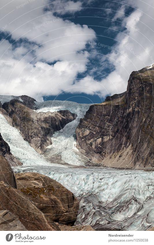 Austerdalsbreen Himmel Natur blau Einsamkeit Landschaft Wolken kalt Berge u. Gebirge natürlich braun Stimmung Felsen Eis ästhetisch einzigartig Schönes Wetter