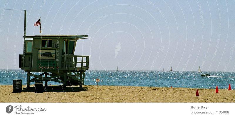 Baywatch Strand Meer Pazifik Haus Strandhaus Wasserfahrzeug Fahne Rettungsschwimmer Sommer Sommergefühl Ferien & Urlaub & Reisen Sandstrand Los Angeles Küste