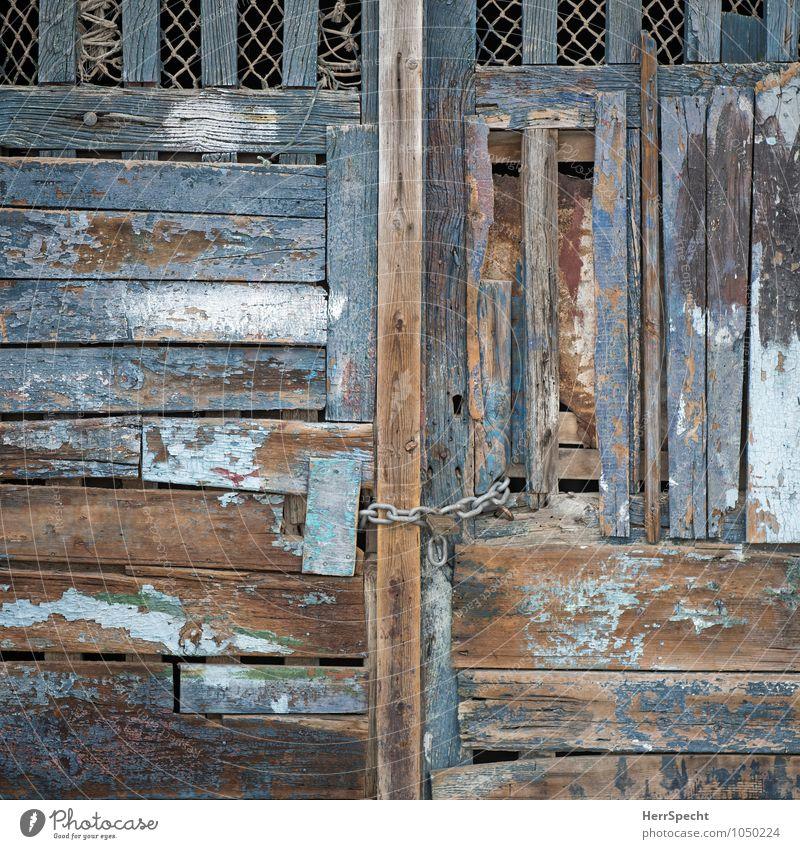 Sicherheit Tür Holz Metall alt ästhetisch authentisch außergewöhnlich blau braun Holztür Tor Holztor Kette Vorhängeschloss Recycling Holzbrett bemalt Farbrest