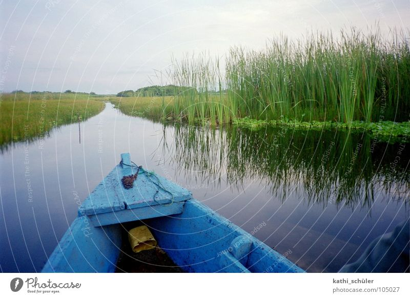 Bootsfahrt Natur Wasser blau Gras Küste Wasserfahrzeug Horizont Fluss Mittelamerika Guatemala