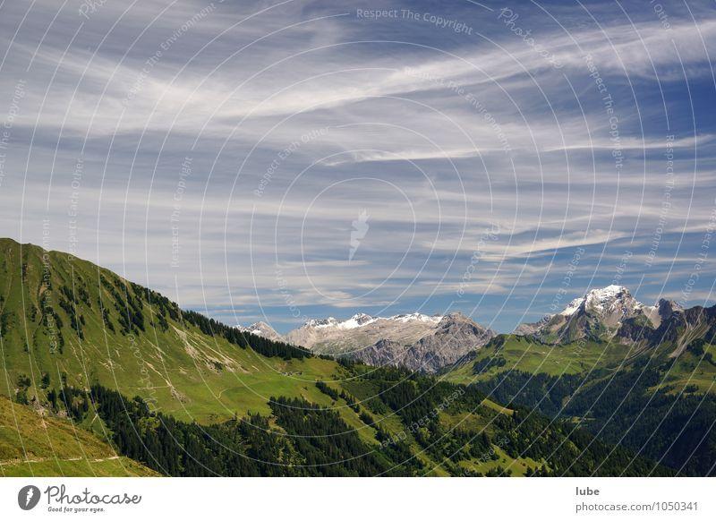 Gute Aussicht Himmel Natur Ferien & Urlaub & Reisen Sommer Landschaft Wolken Ferne Berge u. Gebirge Umwelt Stimmung Horizont Tourismus Ausflug Klima Schönes Wetter Gipfel