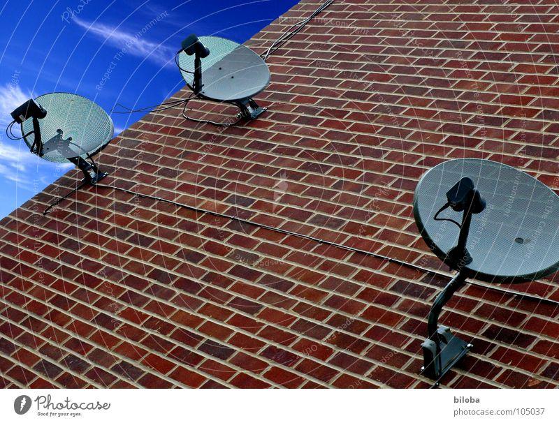 Informationsbenutzungsgesellschaft Einsamkeit Mauer Architektur 3 modern trist Technik & Technologie Fernseher Fernsehen Medien Schalen & Schüsseln Kunde Smog