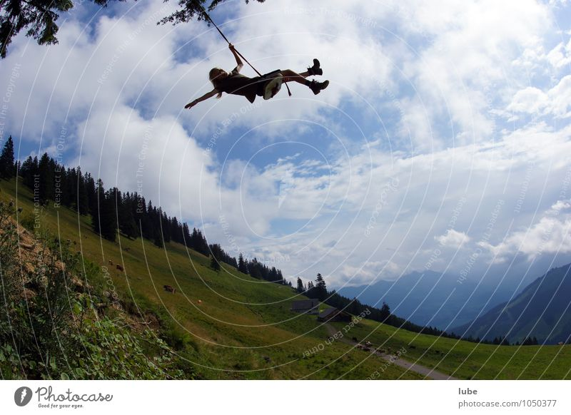 Hoch hinaus Leben Mädchen Kindheit 1 Mensch Natur Landschaft Sommer Luftverkehr fliegen schaukeln Spielen Sport frech frei Glück Unendlichkeit verrückt Freude