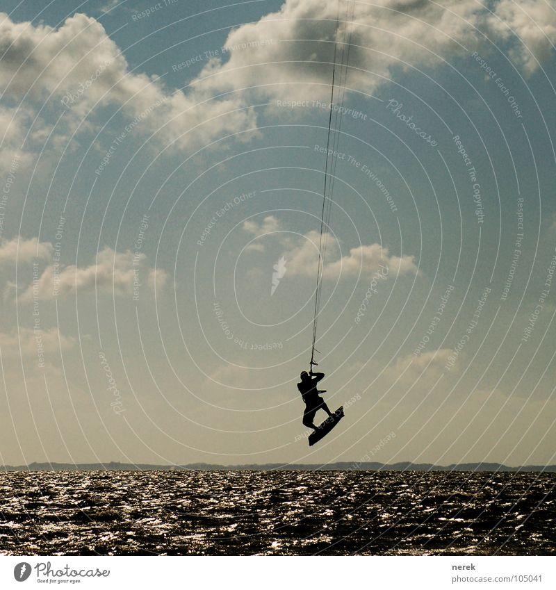 Zieh mich raus Meer Strand Stil Lebensfreude Wolken Ferien & Urlaub & Reisen frei Freizeit & Hobby Sport Sylt Spielen Wassersport Küste Seil Freiheit fliegen