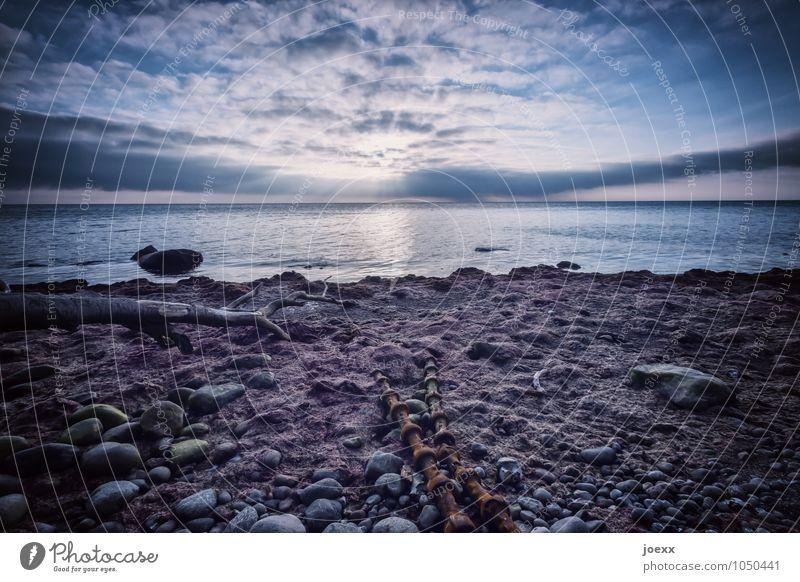 Loslassen Natur Wasser Himmel Wolken Sonnenlicht Schönes Wetter Küste Ostsee alt Unendlichkeit hell schön blau braun grau weiß Optimismus Gelassenheit ruhig