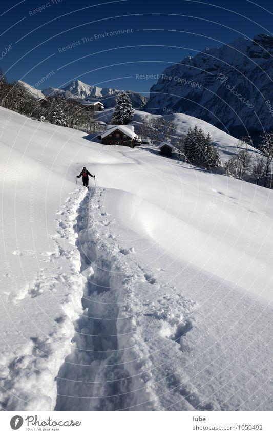 Schneeschuhwanderer Natur Ferien & Urlaub & Reisen Einsamkeit Landschaft Winter Ferne Umwelt Berge u. Gebirge Glück Freiheit Felsen Tourismus wandern