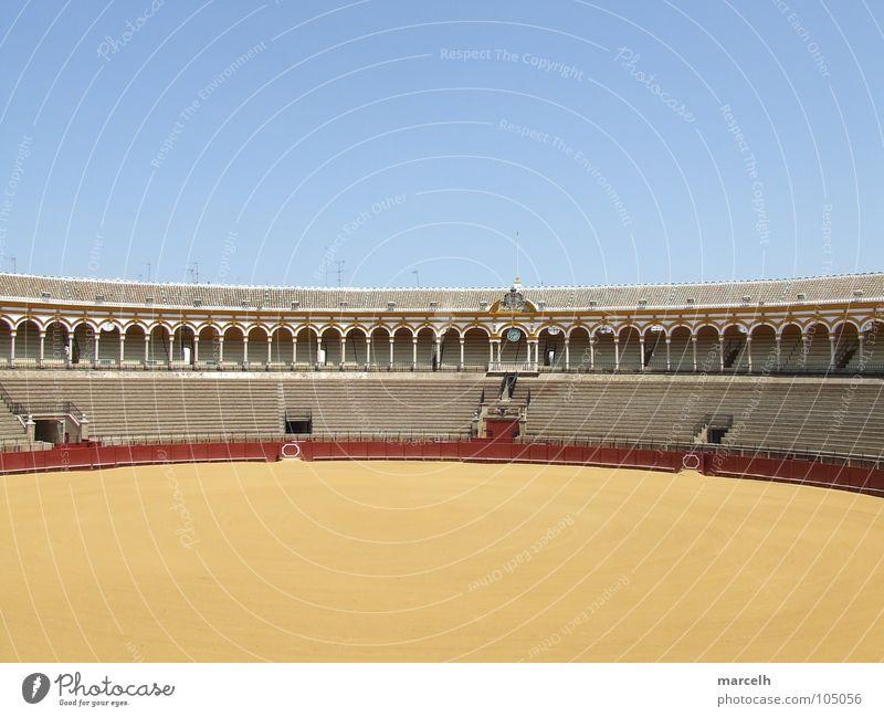 Plaza de Toros blau rot Sommer gelb Sand Europa rund Denkmal Wahrzeichen Spanien Sitzgelegenheit Bulle Arena Andalusien Sevilla Stierkämpfer