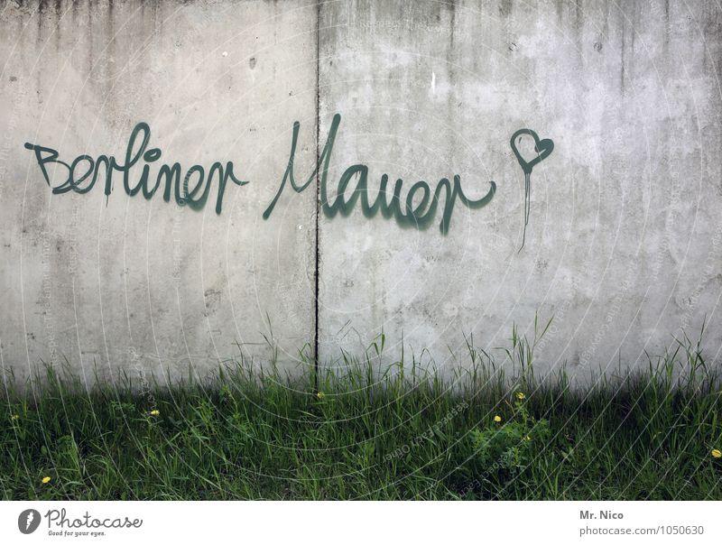 Auf die Dauer fällt die Mauer Stadt Pflanze grün Umwelt Wand Graffiti Gras Mauer Berlin grau Freiheit Kunst Lifestyle Schriftzeichen Herz Wandel & Veränderung