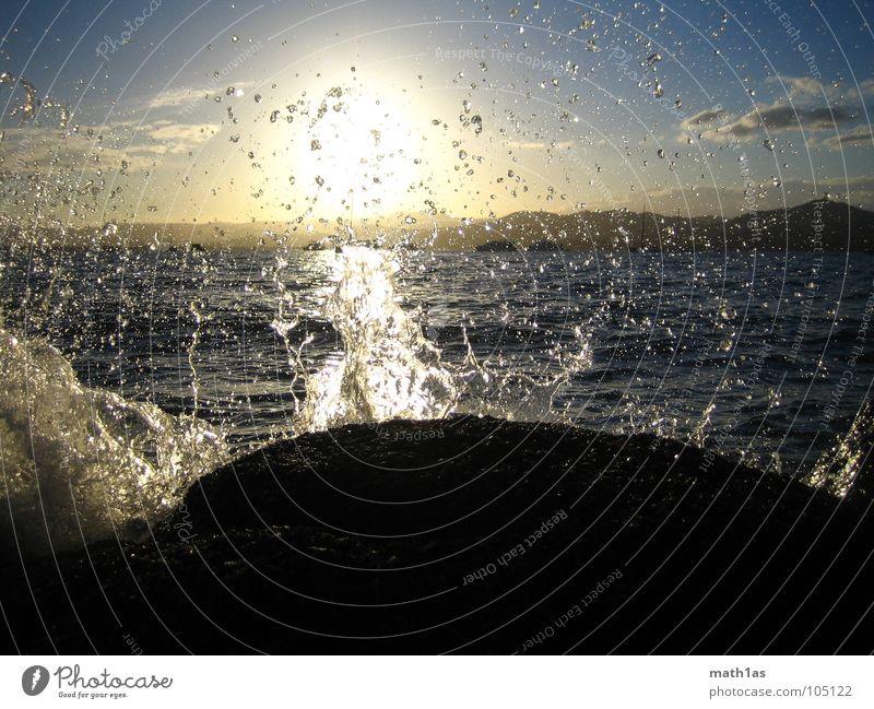 brandung Wasser Himmel Sonne Meer Sommer Strand Stein Wellen Küste Felsen überschwappen Cote d'Azur St. Tropez