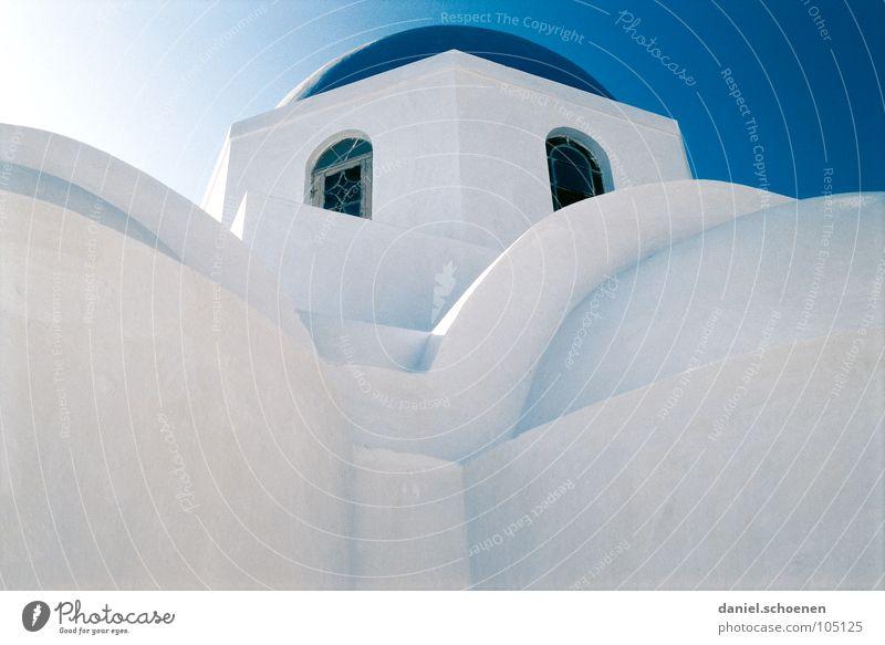 Griechenland abstrakt 2 weiß blau Santorin Kreis Quadrat Strukturen & Formen rund zyan Haus Dach Fassade Hintergrundbild kalt Licht Fenster Putz Physik