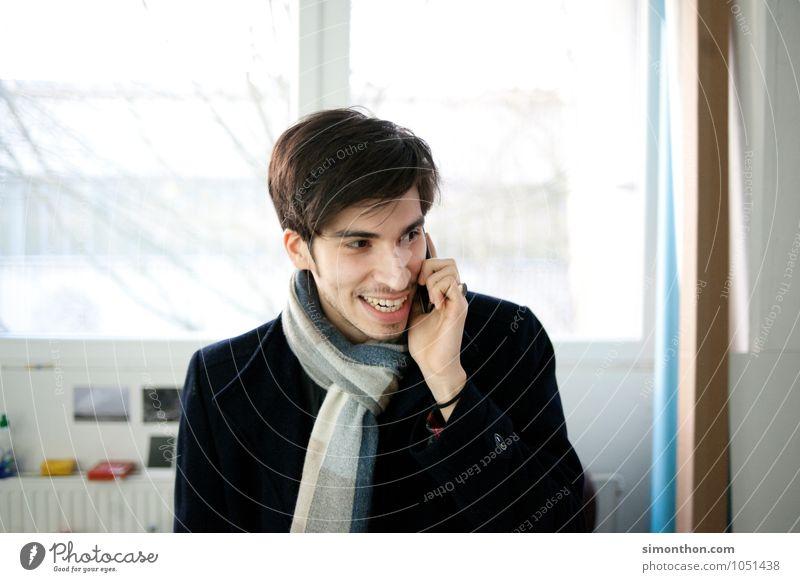 Telefonmann Jugendliche Freude Liebe sprechen Stil Stimmung Lifestyle Business modern Technik & Technologie Kommunizieren Telekommunikation Konzentration Handy