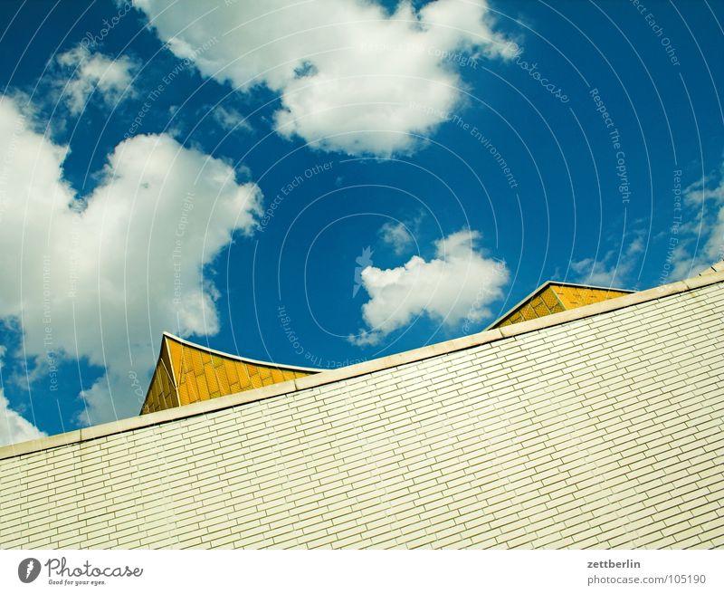 Philharmonie 5 Himmel Sommer Wolken Wand Architektur Fassade modern Kultur Spitze Konzert Swing Berliner Philharmonie Kulturforum Berlin