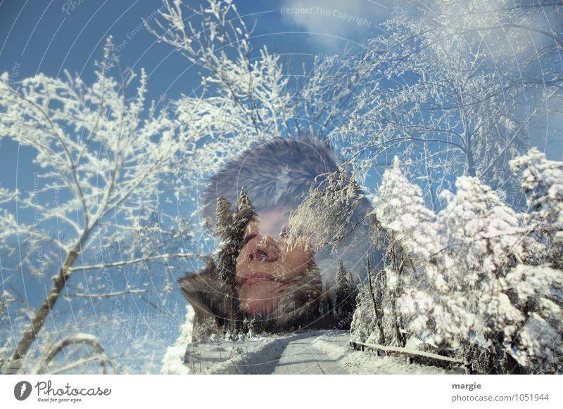 Winterfreuden Mensch Frau Himmel Ferien & Urlaub & Reisen Jugendliche blau Junge Frau weiß Baum Wald kalt Erwachsene Wege & Pfade Bewegung Schnee